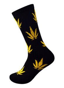 Men's Autumn Marijuana weed leaf Athletic Sports Cushioned Cushion Crew Socks
