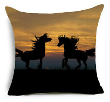 HORSE & WESTERN GIFTS HOME DECOR SUNSET HORSES CUSHION COVER 18 inch 45cms