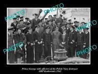 OLD LARGE HISTORIC PHOTO POLAND MILITARY POLISH NAVY ORP KRAKOWIAK & PRINCE 1942