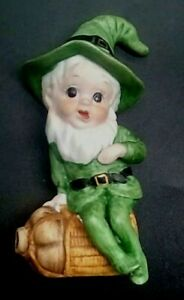 """Vintage Ceramic Bisque LEPRECHAUN Elf FIGURINE Boy Sitting On JUG 4"""" St. Patrick"""
