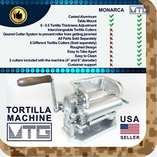 """MTG Tortilla Machine - Roller & Crank Full PK 2 Cutters Included 4"""" and 5"""""""