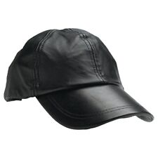 Mens Baseball Cap Genuine Leather Adjustable Size Solid Black Sport Hat Ball Cap
