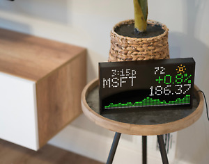 LED Ticker WiFi Clock with Weather, Sports, Stocks, and more