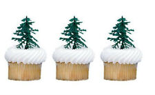 Plastic Evergreen Christmas Trees cupcake picks (24) favor cake topper 2 dozen