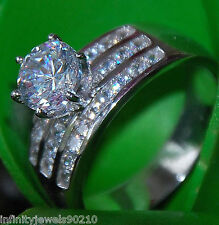 2.03 cts Real 14K solid White Gold round Brilliant cut Engagement ring size 9