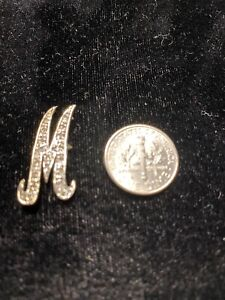 10 K Solid Gold Diamond Initial M Single Letter