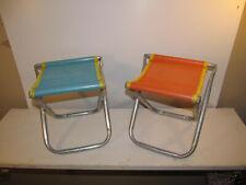2 Vintage Aluminum Portable Mesh Folding Stool Chair Child Toddler Size