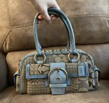 368e8cc33351 Coach Limited Blue Python snake skin suede leather signature satchel handbag