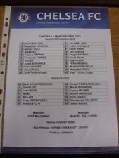 27/10/2013 Colour Teamsheet: Chelsea v Manchester City  . If this item has any f
