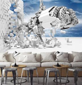 3D White Machine KEP2245 Wallpaper Mural Self-adhesive Removable Sticker Bea