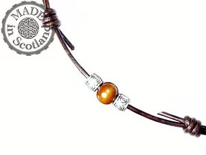 BROWN LEATHER SURFER BEADED TRIBAL CHOKER ADJUSTABLE NECKLACE & TIBETAN SILVER