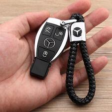 Neue Auto Leder Schlüsselanhänger Schwarz für Benz Emblem Tuning Keyring