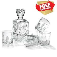 Whiskey Decanter Set Glass Square Lead Free Scotch Vodka Serveware 6 Pcs Glasses