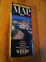 2001 Where Vancouver Canada Map Stanley Park Southwestern British Columbia Rare