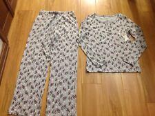 CROFT & BARROW Gray/Multi-Color 2 Piece PENGUIN Pajamas Ladies XS