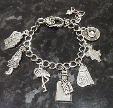 Handmade Alice in Wonderland Inspired Loaded Charm Bracelet Drink Me Bottle