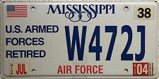 FREE UK POSTAGE Mississippi Armed Forces Retired AIR FORCE License Number Plate