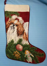 Shih Tzu Puppy Dog Christmas Tapestry Stocking Sock Holiday Red Green Decoration