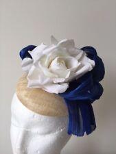 NEW design cream fascinator with blue silk abaca and ivroy flower on a headband!