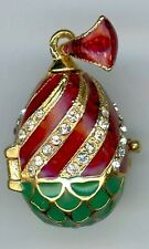 Russian Faux Egg Pendant of Swirls w/clear crystals,decor of green, gold & red