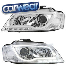 CHROME LED DRL BAR PROJECTOR HEADLIGHTS - AUDI A3 8P 09-12