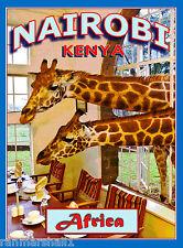 Nairobi Kenya Africa African Giraffe Manor Art Travel Poster Advertisement