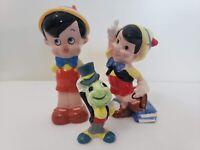Vintage Disney (2x) Pinocchio + Jimmy Cricket Ceramic Figurines (Japan & China)