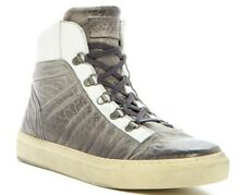 NEW Rogue Atomo C2 White Grey Luxury Bomber Metal Leather High Top Sneaker $400