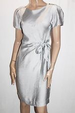 NAKED ART Designer Silver Tie Back Short Sleeve Dress Size 8-XS BNWT #TB56
