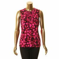 KARL LAGERFELD Women's Printed Pleated Detail Blouse Shirt Top TEDO