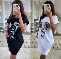 Women Ladies Disney Mickey Print Baggy Oversized Pocket T-Shirt Dress Blouse Top
