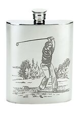 6 oz. English Pewter Flask With Golfer Design On Both Sides, New In Box