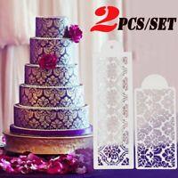 2pcs/set Cake Baking Side Decor Mould Damask Lace Flower Border Fondant Stencil