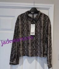 Zara Snakeskin Print Cropped Shirt XS Extra Small 6 New Top