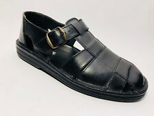 Sioux Herren Schuhe  Leder Sandalen Gr.40 (Gr 6,5) Schwarz Weite G Luftpolster