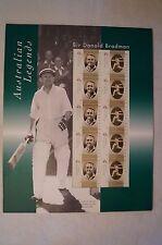 DON BRADMAN - Australian Legends - Australia Post Sheet of 10 Stamps - Sealed