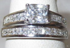 Sterling Silver 6MM PRINCESS CUT Clear Genuine Zircon Wedding Set SZ 5 6 7 8 9