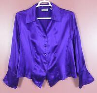 TB08297- i.e. Women's 100% Silk Long Sleeve Blouse French Cuff Deep Purple 18W