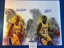 Kareem Abdul-Jabbar Magic Johnson Signed 16x20 Photo LA Lakers Beckett COA