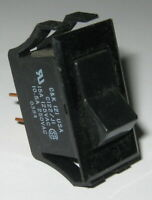 C&K C122 Power Black Rocker Rectangular Switch - SPST - 125V 15A - 250V 10A