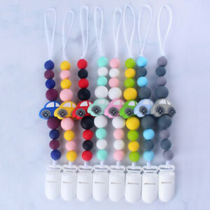 EG_ Silicone Baby Car Teething Soother Beads Dummy Clip Pacifier Chain Chew Toy