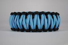 550 Paracord Survival Bracelet King Cobra Black/Carolina Blue Camping Tactical