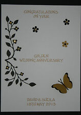 HANDMADE PERSONALISED GOLDEN WEDDING 50th ANNIVERSARY CARD