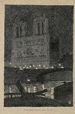 PAUL JOUVE GRAVURE NOTRE-DAME DE PARIS DESSIN 1903