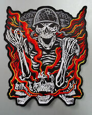 Embroidered Biker Motorcycle Back Jacket Patch - Dead skulls on the road