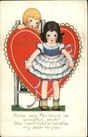 Valentine c1915 Postcard Boy & Girl PAVLOWA Poem WHITNEY