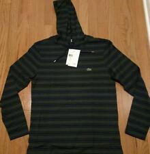 Mens Authentic Lacoste Striped Lightweight Hoodie/Hooded T-Shirt Kelp/Navy 7 2XL