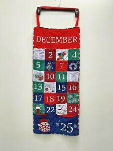 Advent Calendar Wall Hanging Velour Christmas Countdown Embroidered Home Decor