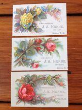 Lot of 3 Antique Victorian Business Trade Floral Cards Dover NH JA Horne Jeweler