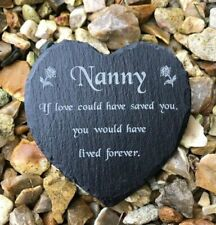 Engraved Slate Heart Memorial Grave Marker Plaque Nanny Mothers Day Remembrance